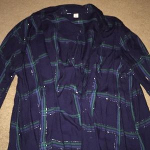 Blue and green plaid blouse
